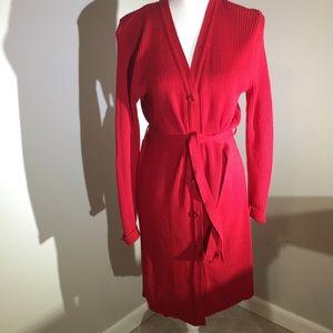 JJ basics Full Length Belted Red Cotton Sweater Lg